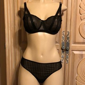 Victoria's Secret black mesh bra 36D&panty bundle